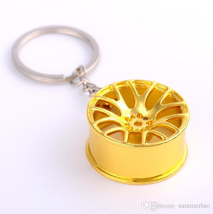 New Automobile wheel Keychain stamped Custom LOGO pendant key ring gifts Fashion Gold Sliver Bronze SS0014