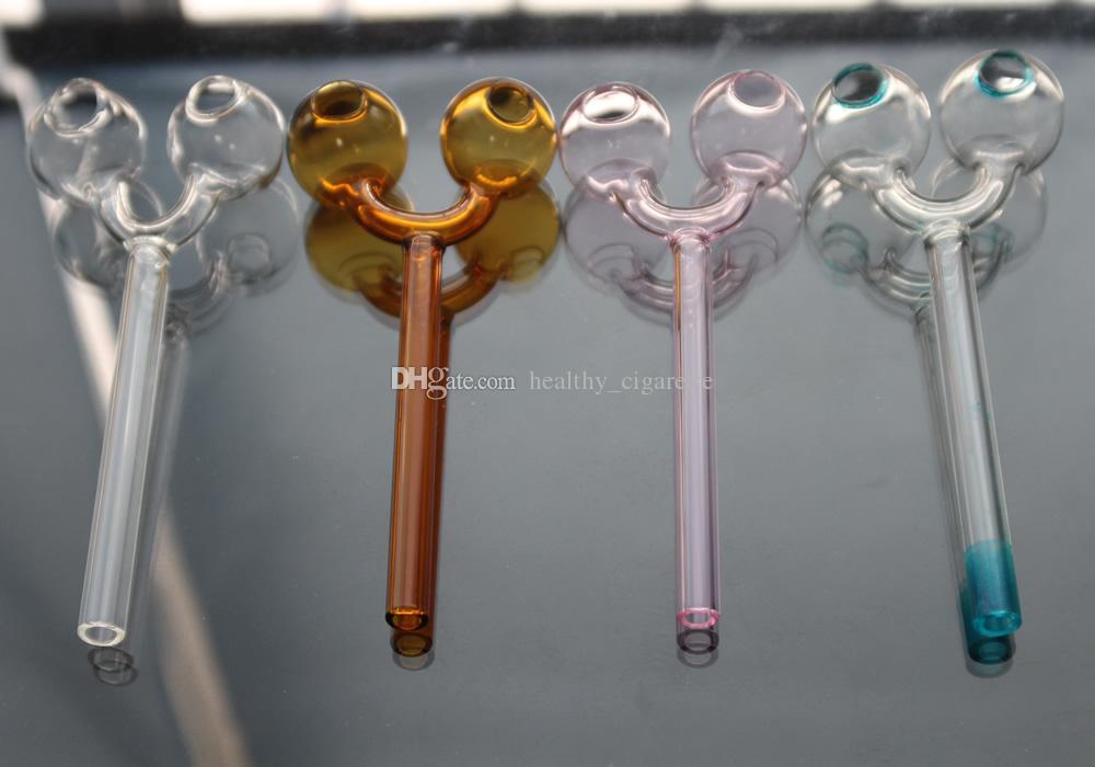 Pyrex Ölbrenner Rauchpfeifen Heady Tabakpfeifen Gebogene Glaspfeifen Dry Hand Pfeife Doppelglas Bohrinseln Rohr