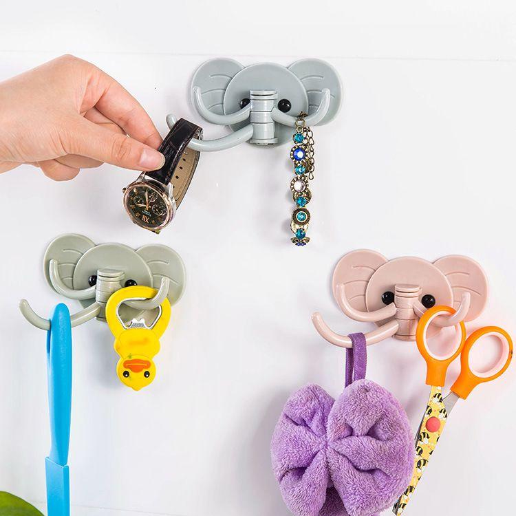 Cute Elephant Plastic Decorative Key Holder Wall Shelf Rack Hook Home Storage Organizer Bathroom Kitchen Accessories