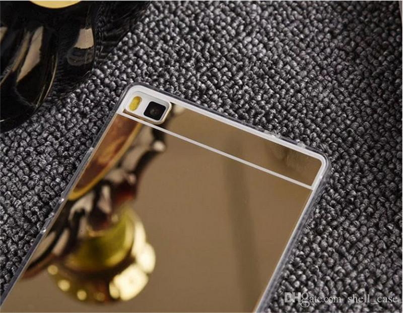 Ultrathin SOFT mirror case 2 IN 1 plated tpu acrylic shockproof back covers for huawei p8 lite mate 8 g610 r7s x6 plus lg g5 v10 iphone 6 s6