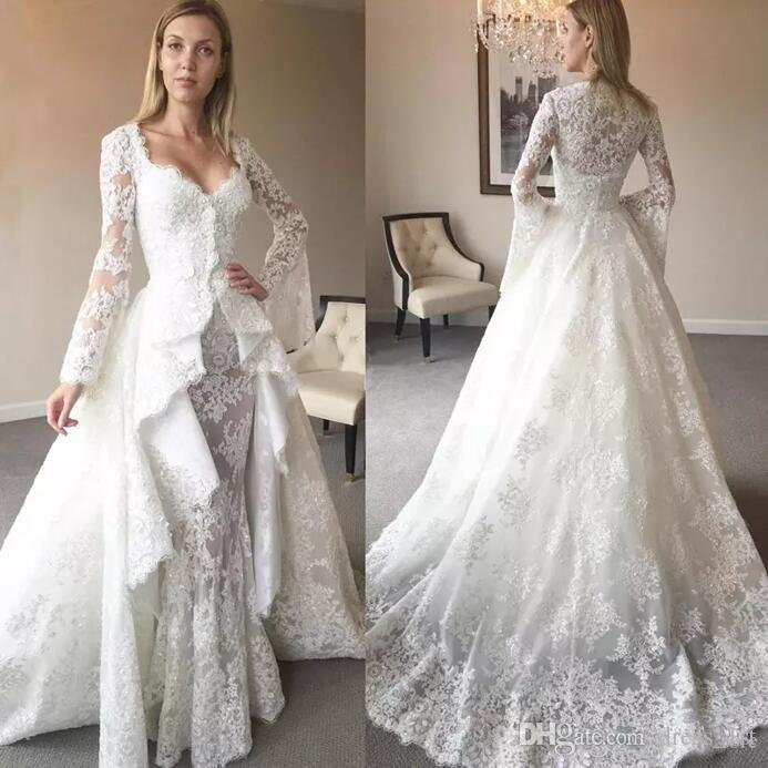 Discount 2017 Winter Lace Wedding Dresses With Trumpet Long Sleeve