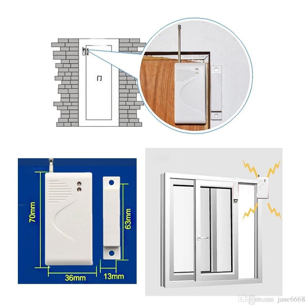5 unids 433 mhz gsm sensor de puerta inalámbrico sensor de puerta de entrada de la ventana inalámbrica detector de contacto magnético para el sistema de alarma casera