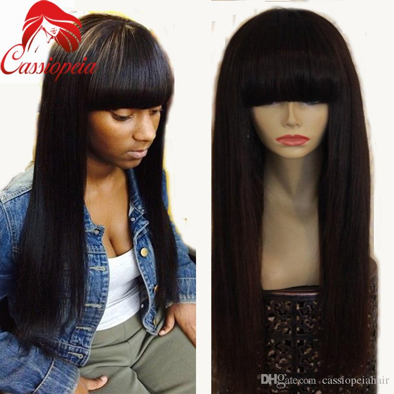 Red 99j Silky Straight Full Lace Wigs with Bangs Glueless Malaysian Virgin Human Hair Full Lace Front Wigs Straight For BlacK Women