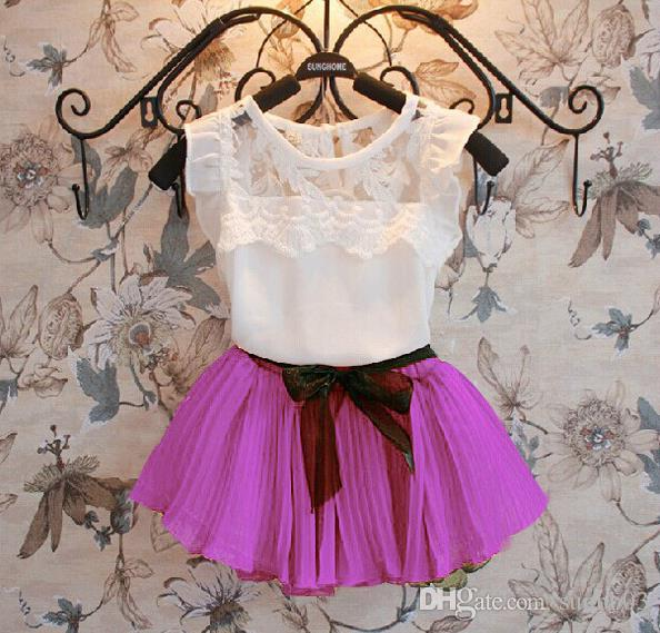 Summer Children Clothing Girls Sets Kids Short Sleeve Lace T Shirt Tops Tee + Bow Pleated Chiffon Skirt Outfit Girl Sweet Outfits 1759