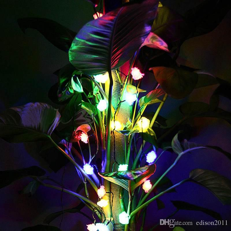 Yeni 4 M 20 Gül Çiçek LED Dize Işık Noel / Düğün / Parti Dekorasyon Işıkları Renkli Tatil Açık Dekorasyon Led Işık