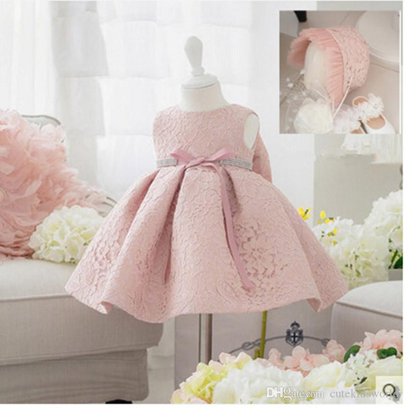2019 2016 new summer baby girl baptism dress with hat gown ball pink