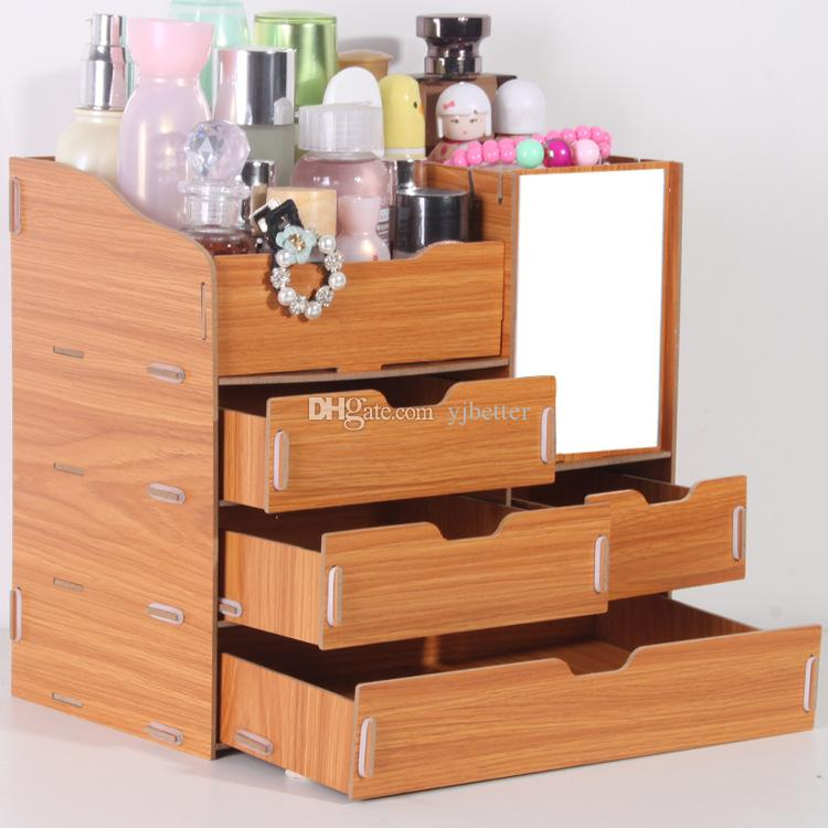 yjbetter 3d wooden storage box jewelry container makeup. Black Bedroom Furniture Sets. Home Design Ideas