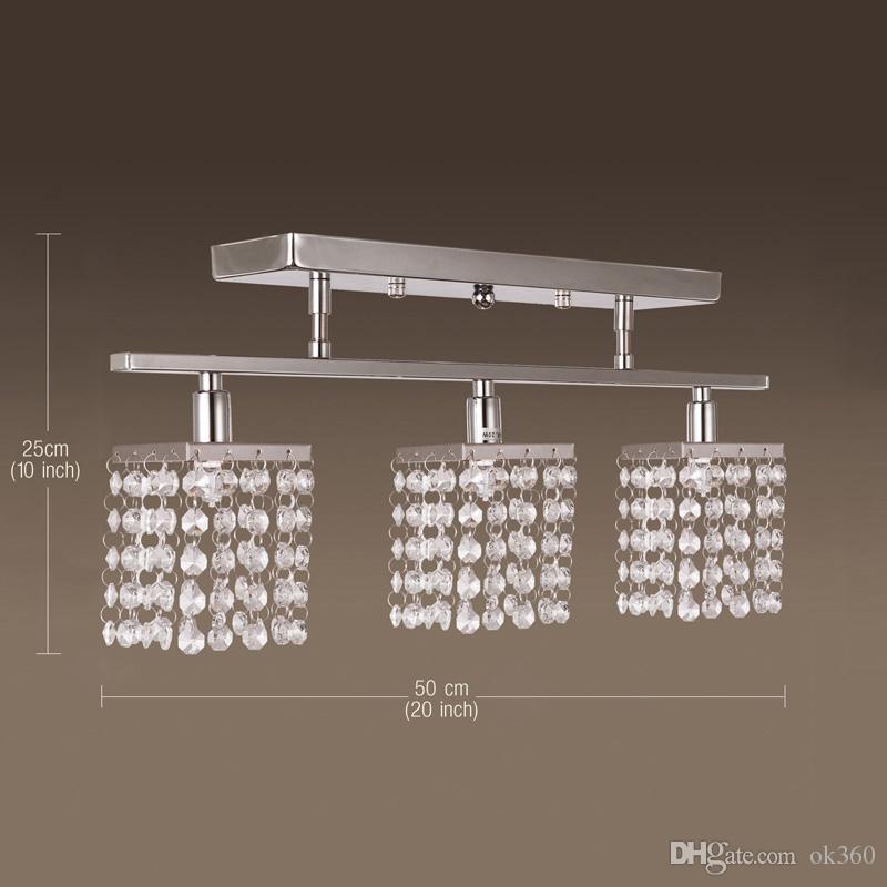 Современные 3 Света Кристалл LED Потолочный Светильник Линейный Дизайн подвесной светильник Потолочный Светильник Светильник для Прихожей, Спальни, Гостиной