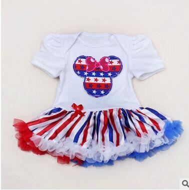 Menina Vestidos Da Bandeira Americana Do Bebê Crianças Menina Bodysuits vestidos de manga Curta roupas Crianças roupas KF 001