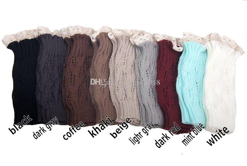 9 Farben niedliche hohle Blätter Frau stricken warmer Leggings Socken Rohr Socken mit Spitzenstiefelsocken DHL C1441