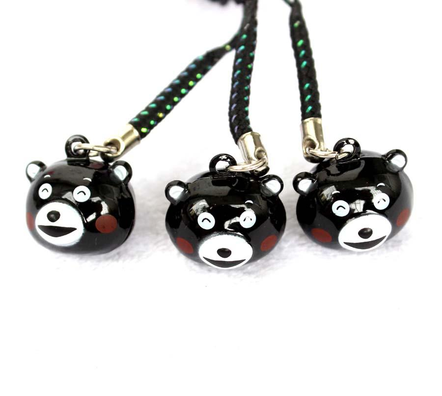 Cute Black Kumamon Pendant Cell Phone Charm Straps with Bell Cartoon Cell Phone Strap Bell Charm New Style