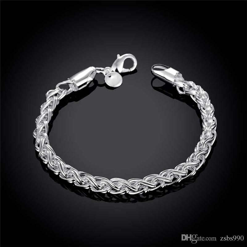 925 sterling silver plated twisted circle chain bracelet Fashion Cool Men's Jewelry good quality and low price