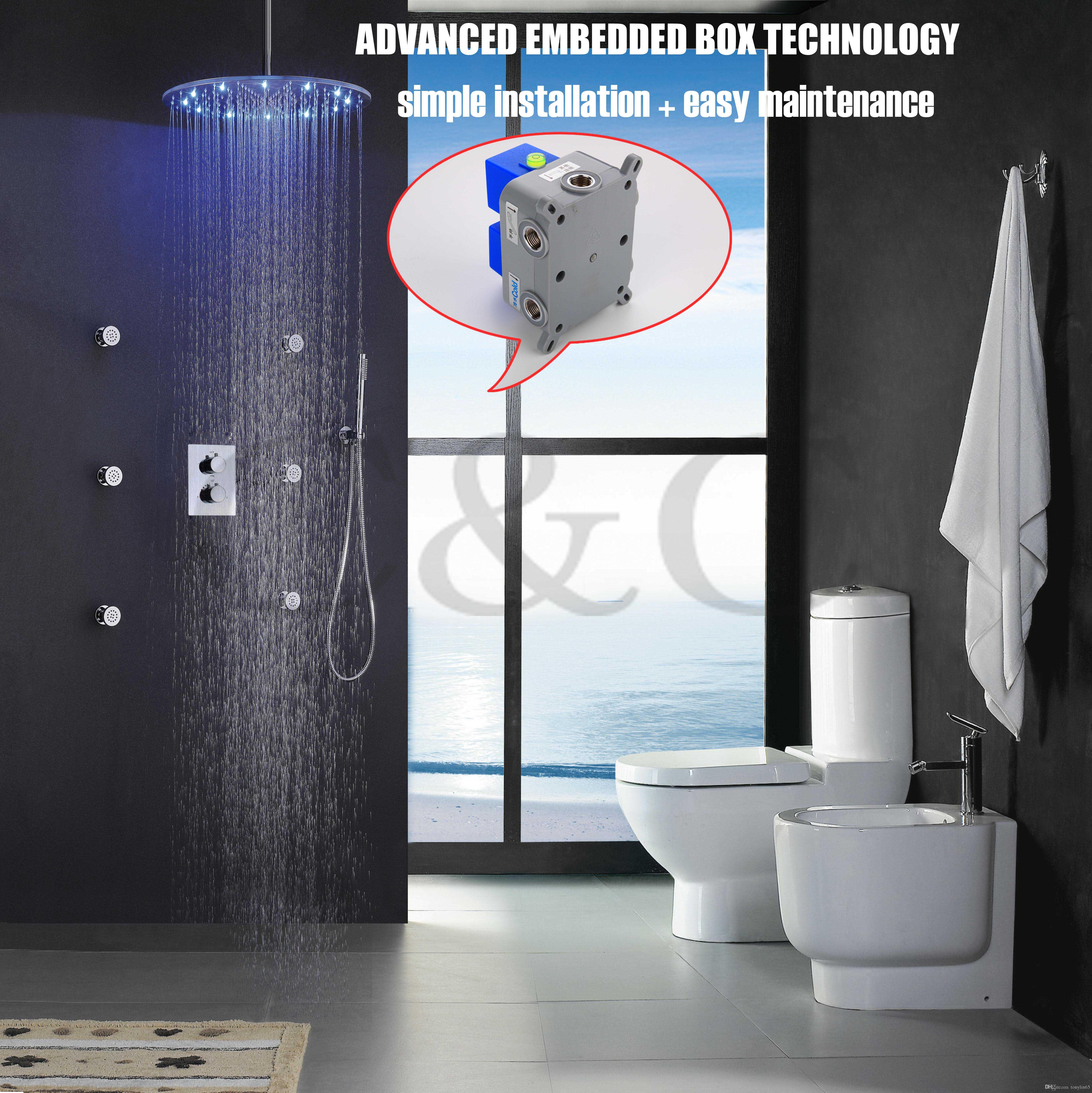 Thermostat bathroom shower faucet set 20 inch led rainfall round shower head with embedded box 002t 20r 3y bath shower faucet shower faucet bath faucet