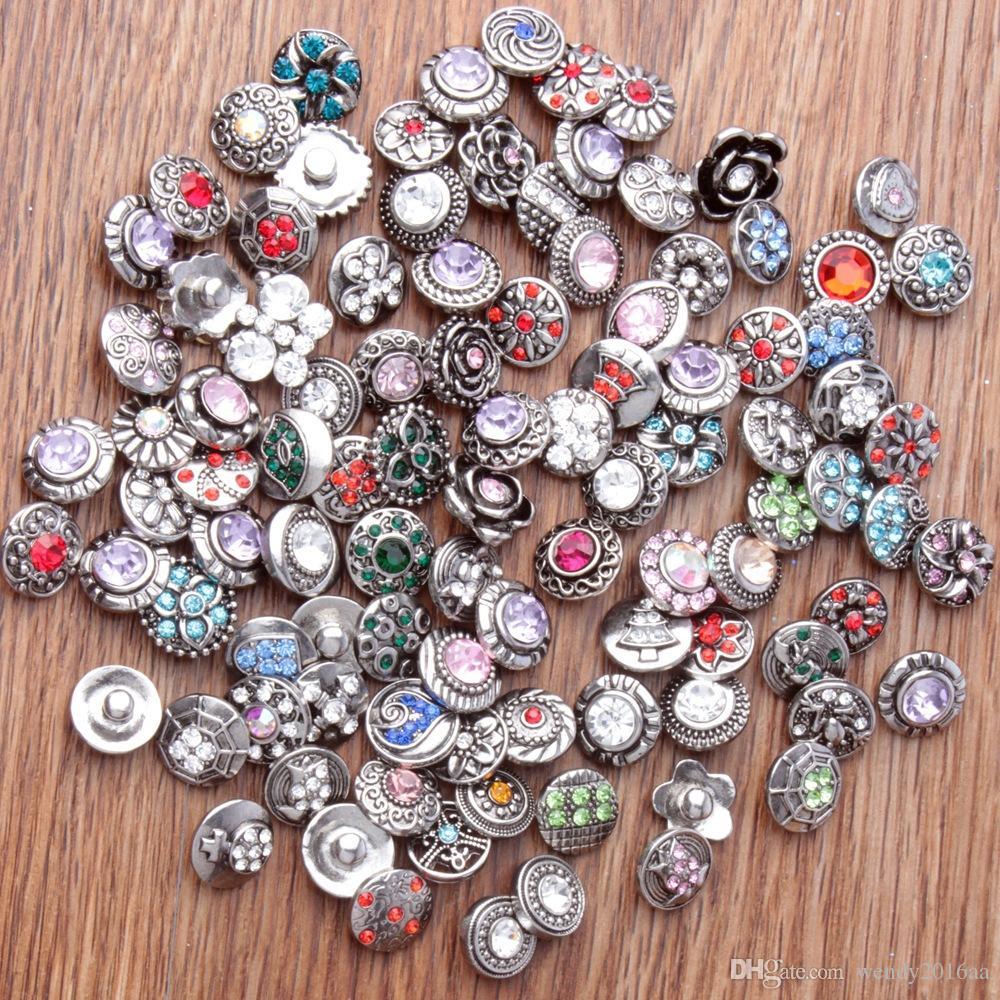 500 unids 12 MM NOOSA Snap Button Rhinestone Chunk Button Buckle Mixta Ajuste Para Noosa Charm Pulseras collar de la joyería DIY colganteAccesorios