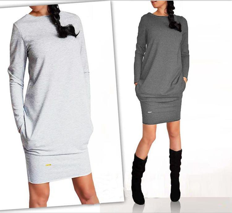 Nice Spring Casual Dresses For Womens Long Sleeve V-neck Vintage Dress Slim Cheap Womenƶs Clothing Black Gray White 3 Colors Dress