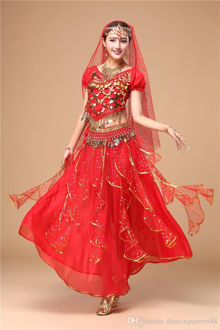 2018 Costumi da ballo di Bollywood 5 pezzi parte superiore + gonna + catena in vita + velo + copricapo Costume di danza del ventre Abiti indiani Gonna di danza del ventre