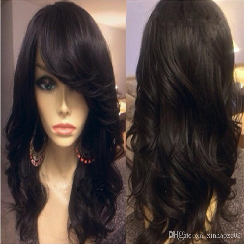 7A Grade Malaysian Body Wave Full Lace Human Hair Wigs with Side Bangs / Glueless Full Lace Wigs Human Hair For Black Women
