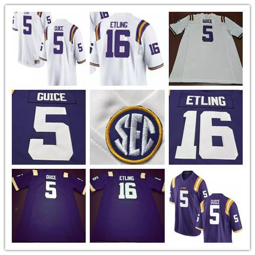 6fd3ca4bcea 2019 Cheap Mens LSU Tigers College Football 5 Derrius Guice 16 Danny Etling  49 Arden Key 69 Turner Simmers White Yellow Purple Stitched Jerseys From ...
