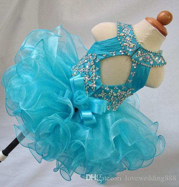 Real Image Blue Beads Ruffles Cheap Toddler Little Girls Pageant Dresses Organza Glitz Ball Gown Infant Cupcake Flower Girls Gowns