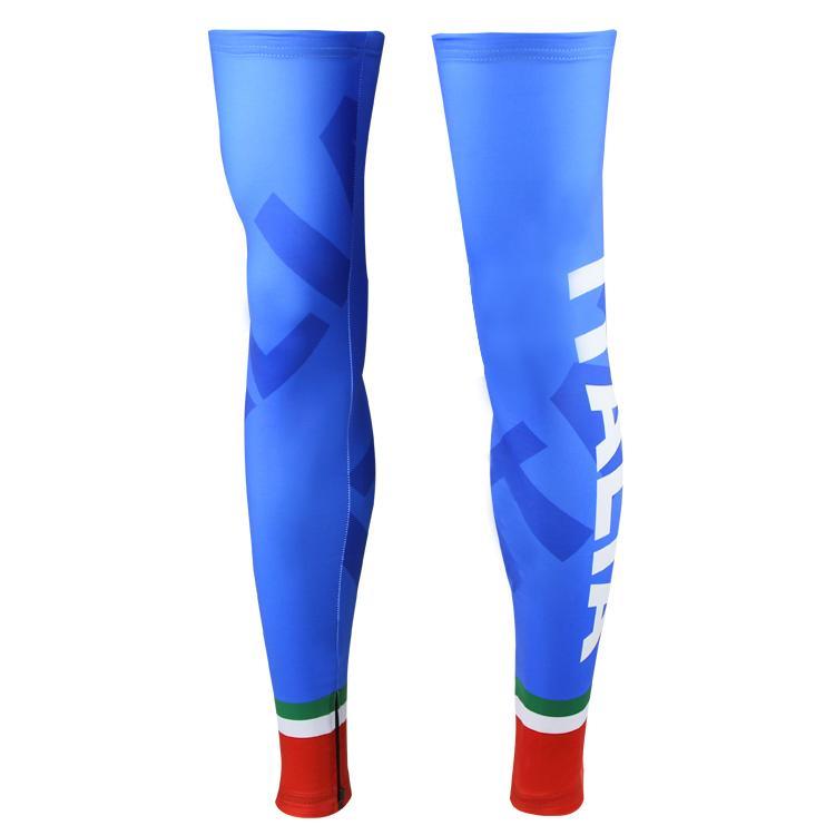 2016 ITALIA TEAM BLUE I09 CICLISMO GAMBA SPANDEX COOLMAX LYCRA PROTEZIONE UV TAGLIA: S-XXL