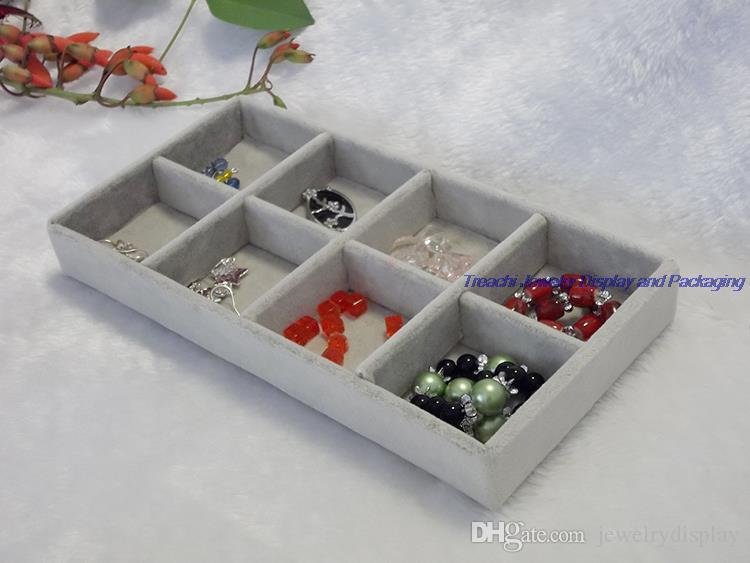 Fashion 3 Kit Grey Velvet Box for Jewelry Display Decor Storage Organizer for Beads Earrings Holder Plate Ring Tray 11*22CM