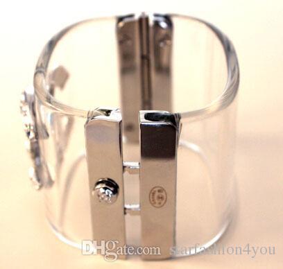 precio del molino de lujo de las señoras de las mujeres de las mujeres hembras diamantes de la marca exagerada punk crystal Brazaletes de acrílico pulseras wristband es envío gratis