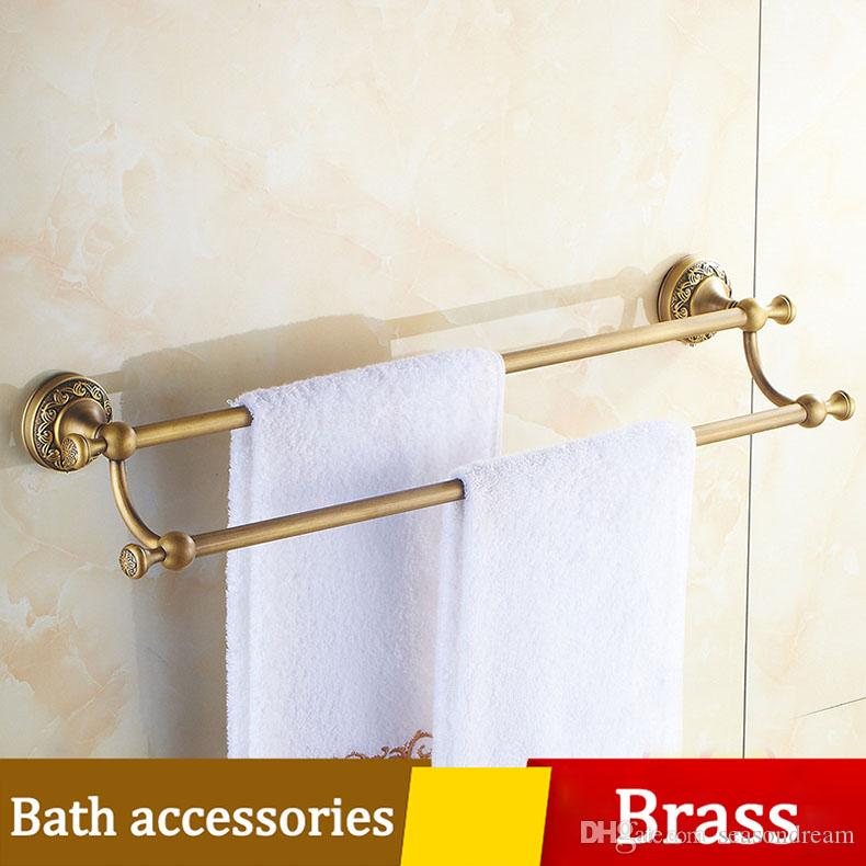 2018 Bathroom Dual Towel Rack 60cm Toilet Towel Bar Wall Shelf Set ...
