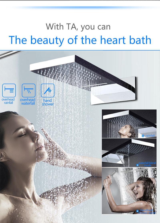 juego de ducha de lluvia conjunto de ducha fría y caliente, 22 pulgadas de pared montada cascada baño de lluvia ducha grifo