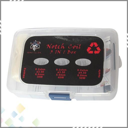 Notch Coil 3 In 1 Kit confezione autentica Demon Killer Notch Bobina SS316L Fili con Japan Muji Cotone organico e strumenti DHL Free