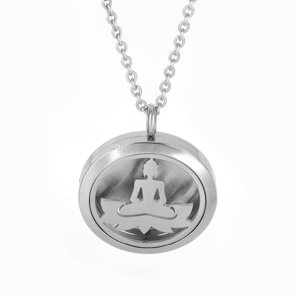 Aromaterapia Difusor Colar de Aço Inoxidável 316L Bodhi Lótus Óleo Essencial Medalhão Pingente com Almofadas de Reenchimento