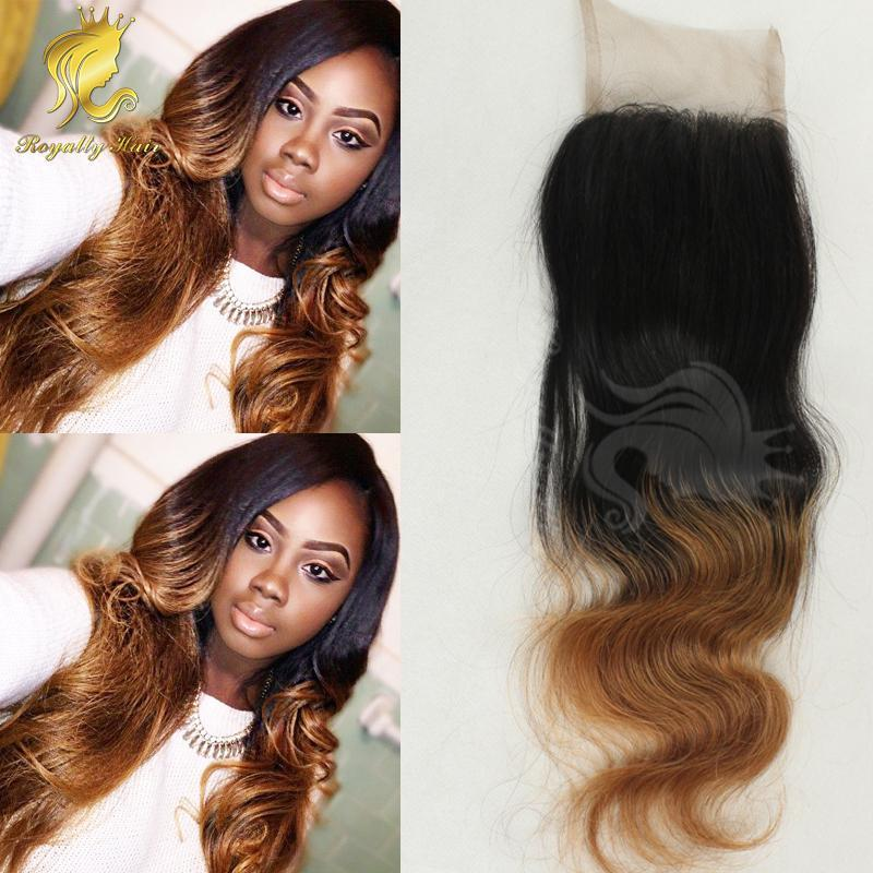 Peruvian body Wave Closure #1B#30 Human Hair Two Tone Free Part Ombre Closure with bleached knots
