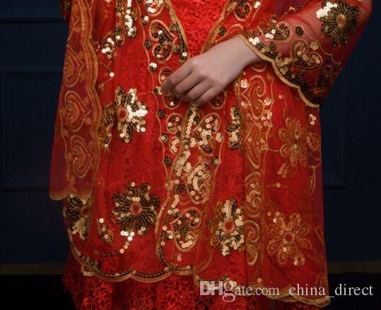 Shinning Cekinowy Styl Koronki Panny Młodej Szal Szal Wedding Wedding Party Wrap Poncho Wrap Kwiatowy 10 sztuk / partia # 1578 \ t