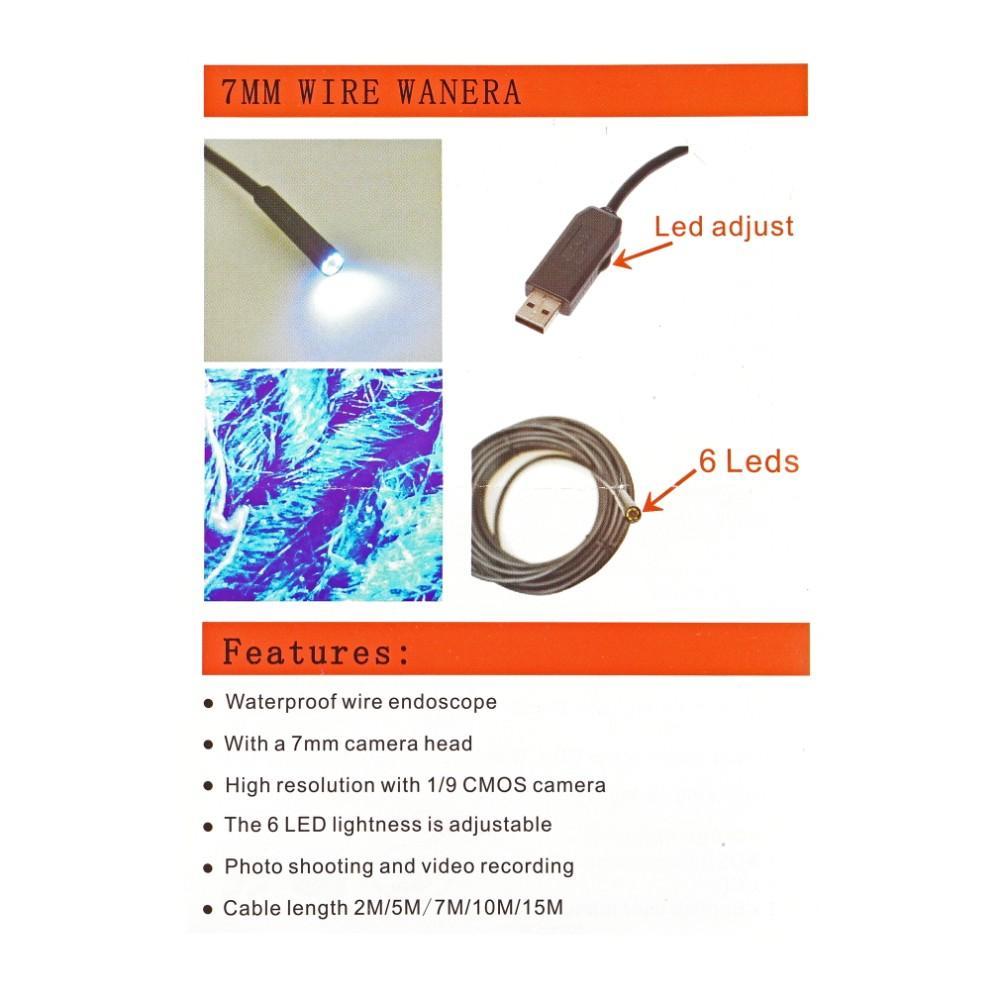 5 M 6 LED USB Su Geçirmez Endoskop Borescope Yılan Muayene Video Kamera 7mm Yeni