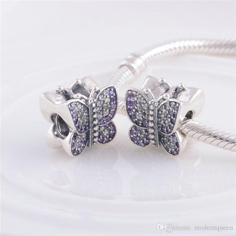 Borboleta encantos beads jóias 925 prata esterlina se encaixa bracelete de estilo diy e colar 791257ACZ