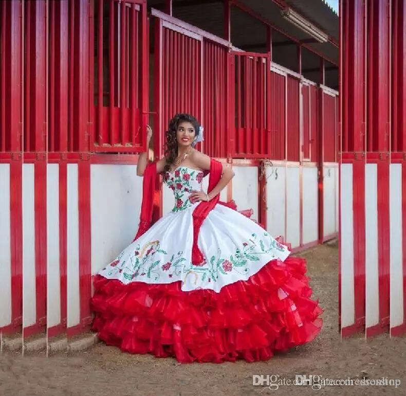 2019 Ball Gown Quinceanera Dresses White And Red Tiered Draped Sweetheart Embroidery New Formal Dress Sweet 16 Prom Gown