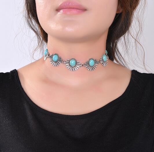 0b65a6f68927 Compre 2016 Nuevo Hot Boho Collar Gargantilla Collar De Plata Joyería Para  Las Mujeres Moda Estilo Étnico Bohemia Turquesa Cuentas Cuello A  30.16 Del  ...