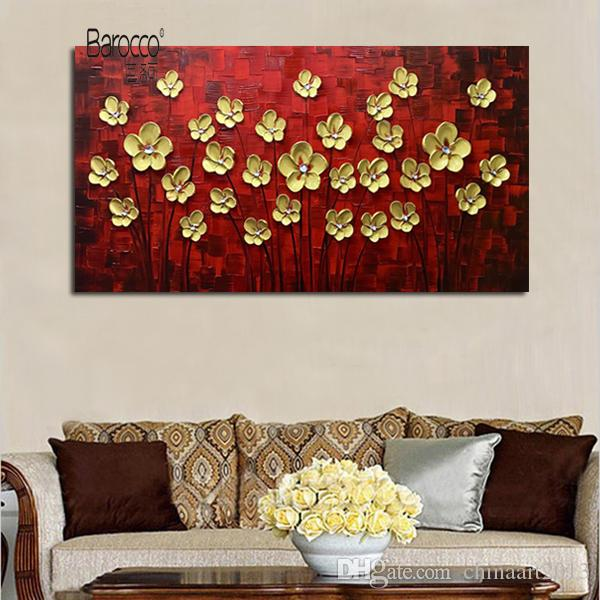 Wholesale Gold Flowers Tree Hand Painted Scenery Oil Painting on Canvas Modern Home Wall Art Decoration