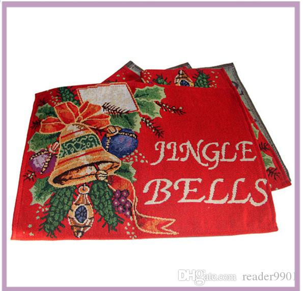 Red Unique Christmas Holiday Table Runners Place-mat set Christmas Jingle Bell Rectangle Table cloth Decorative Bed Runner