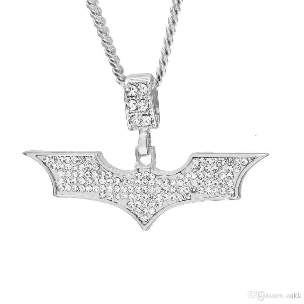 Black on Gold Plated Bling Bat Necklace