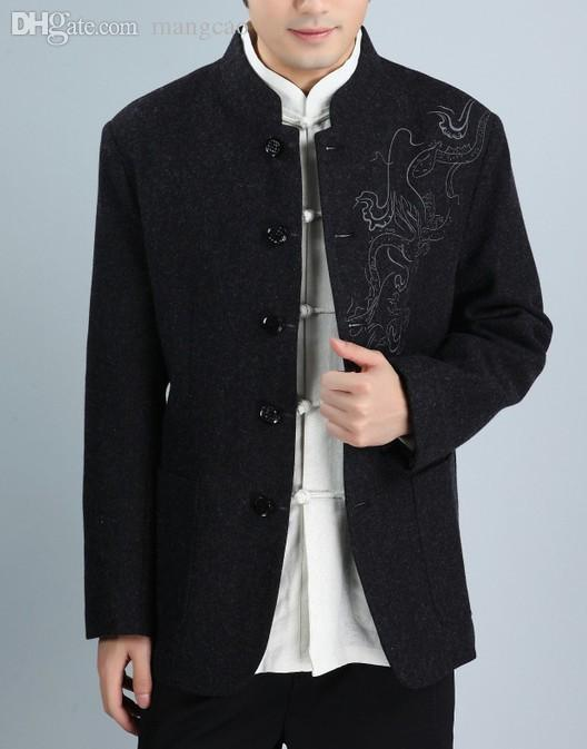 Fall Winter Black 100�shmere Wool Men Coat Chinese Style Kung Fu ...