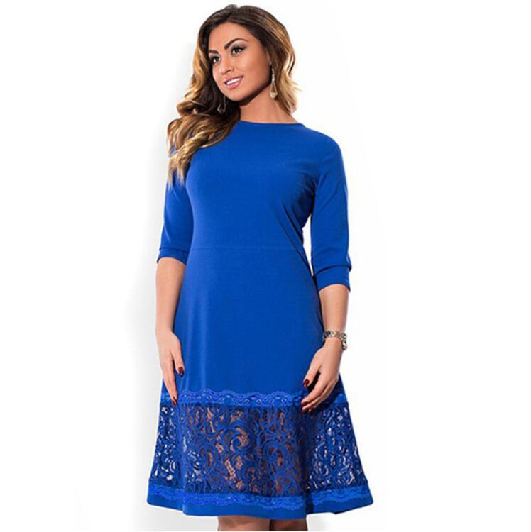 fbfa63c9398 L 6XL Elegant Blue Women Dress Big Sizes Autumn O Neck Loose Dresses Plus  Size Knee Length Dress Black Red Casual Dress Cute White Summer Dresses  Clothing ...
