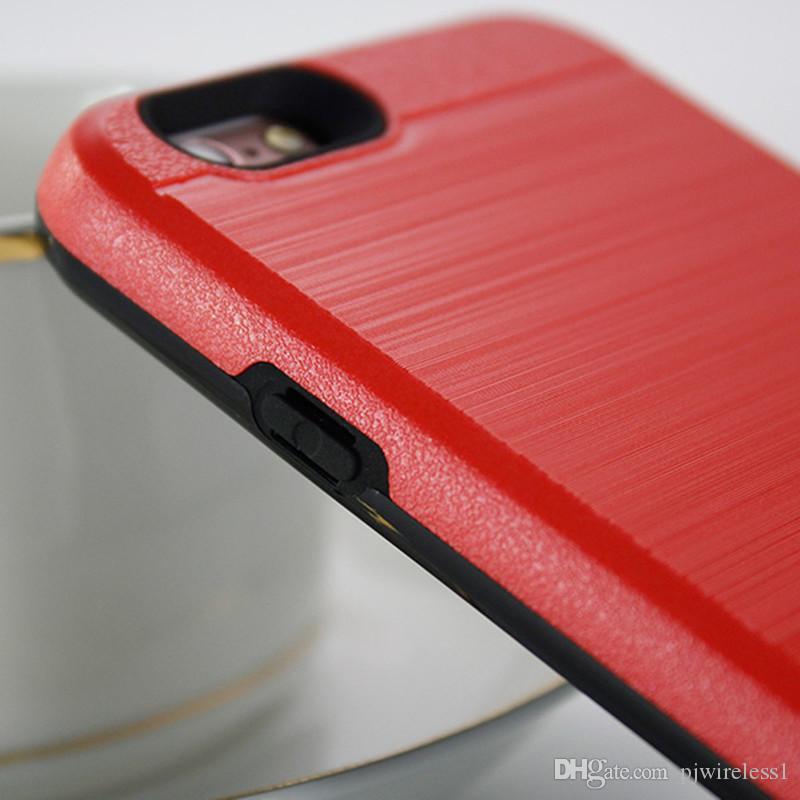 Hibrid Zırh iphone X iphone 8 Için artı samsung galaxy not 8 Için Alcatel A30 Fierce metropcs kredi kartı yuvası Vaka C