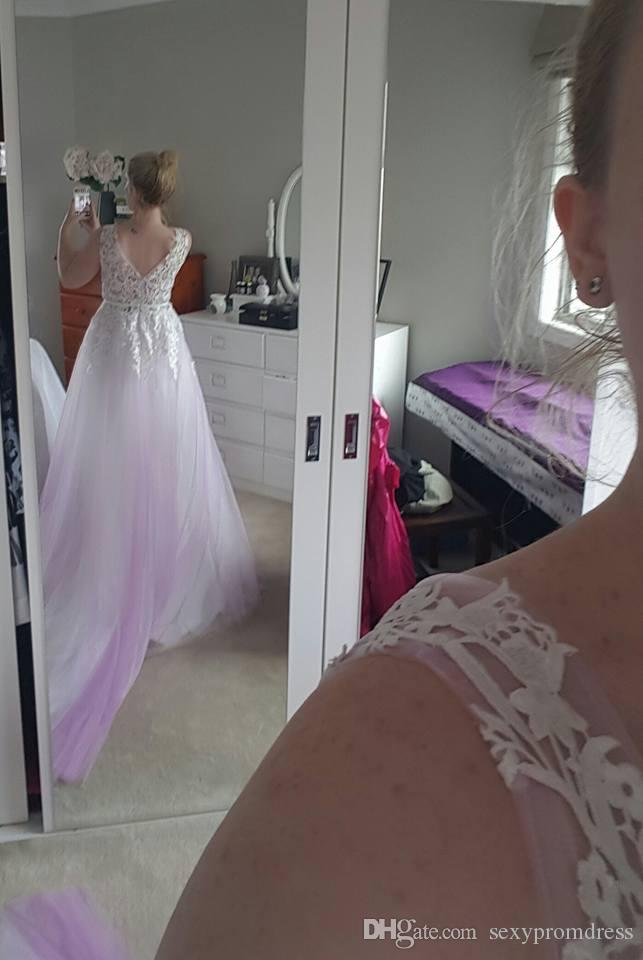 Graceful Deep V Neck Lace Applique Prom Dresses 2017 Lilac Tulle Covered Sweep Train Evening Gowns Fairy 100% Buyer Show Real Photos Gowns