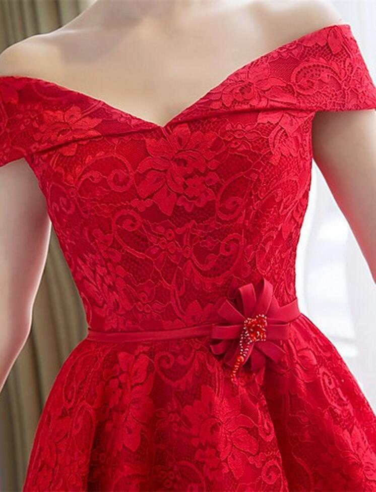 Red Lace Bridesmaid Dress A line Cheap Tea Length Wedding Guest Dress Off-Shoulder Sweetheart Sleeveless Lace-up Back Satin Sash