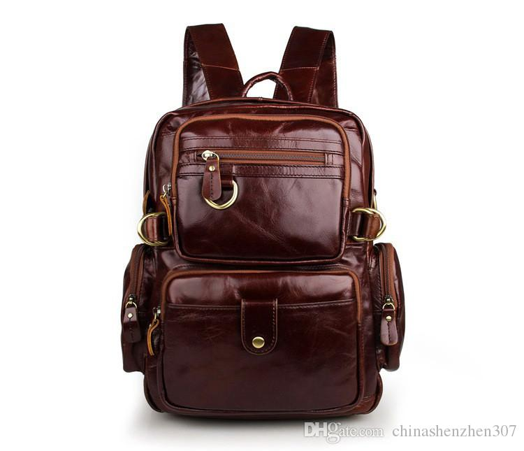 2016 New High Quality 100% Genuine Leather Unisex Stylish Backpacks For College Popular Hiking Bag Shoulder Bag 7042