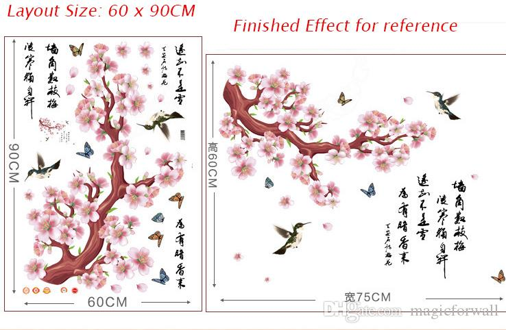 Pink Peach Flowers Tree Branch Flying Birds Butterfly Chinese Poet Wall Stickers Living Room Bedroom Room Wall Decor Wallpaper Poster