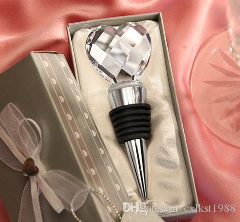 Chrome Bottle Wine Stopper Crystal Heart Design WEDDING Favor Drink Reception Brand New Good Quality