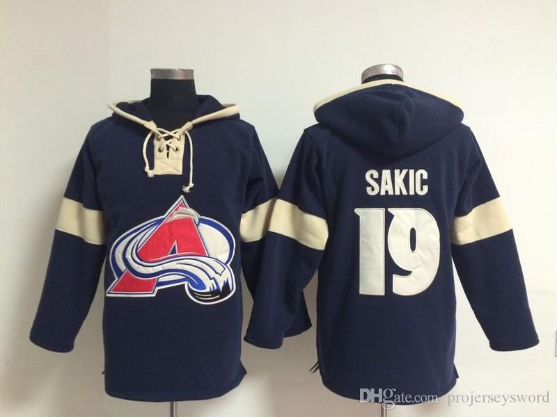 Youth Hockey Jersey Cheap, Colorado Avalanche Hoodie #19 Joe Sakic Stitched Embroidery Logos Hoodies Sweatshirts Any Name and Any Number
