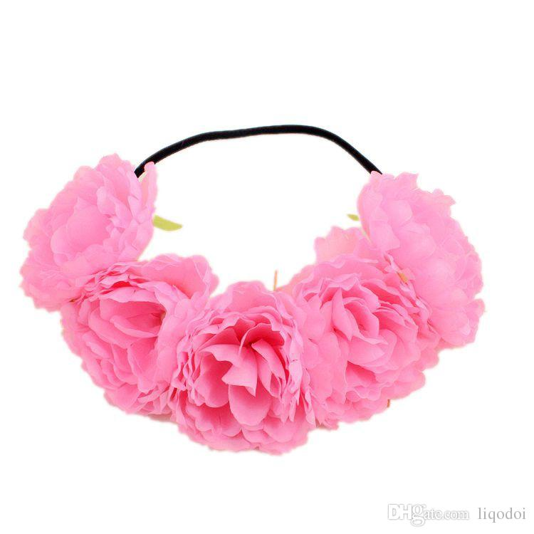 11cm Large Peony Artificial Flower Wreath Headband Home Wedding Party Decoration DIY Craft False Flower Garland Hair Band