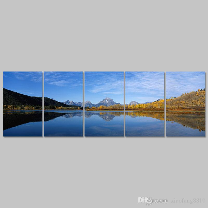 Big size Mountain landscape lake decoration blue sky Canvas Painting wall Art print living room home decor unframed